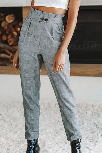 Decorative Buttons  Gingham Pants