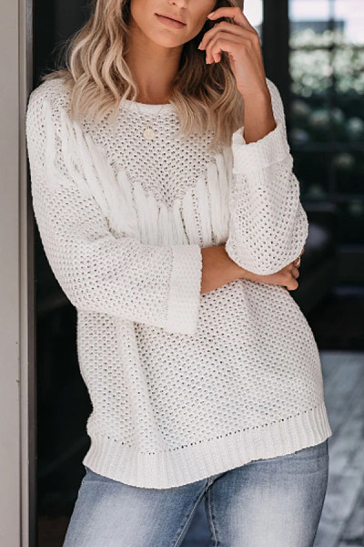 Fashion pure color round neck long-sleeved sweater