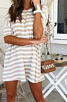 Fashion Stripe Short Sleeve Casual Dresses