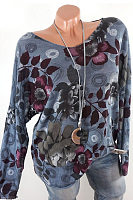 Round Neck Long Sleeve Printed Casual Blouse