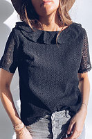 V Neck Short Sleeve Lace Blouse