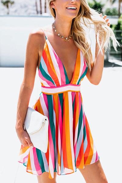 Spaghetti Strap  Backless  Striped  Sleeveless Skater Dresses