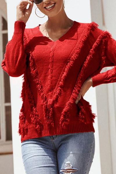 V Neck Tassel Plain Sweater