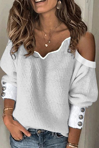 Women's Fashion V-Neck Off-The-Shoulder Colorblock Decoration Button Knit Sweater