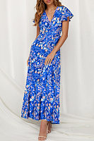V Neck  Floral Printed  Short Sleeve Maxi Dresses
