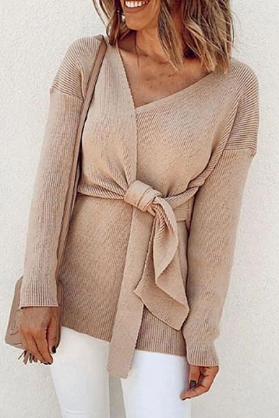 Fashion Solid Color V-Neck Knit Long-Sleeved Knit T-shirt