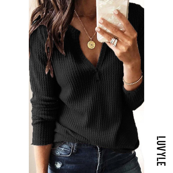 Black V-Neck Long Sleeve Plian T-Shirt Black V-Neck Long Sleeve Plian T-Shirt