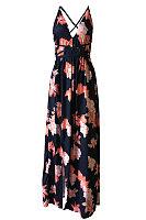 Deep V Neck  Backless Slit  Belt Loops  Printed  Sleeveless Maxi Dresses