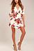 Surplice  Belt  Floral Printed  Batwing Sleeve  Half Sleeve Casual Dresses