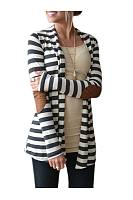 Collarless Patchwork Striped Cardigan
