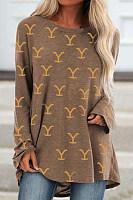 Printed Long Sleeve Loose T-shirt