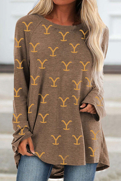 Printed Long Sleeve Loose T-shirt