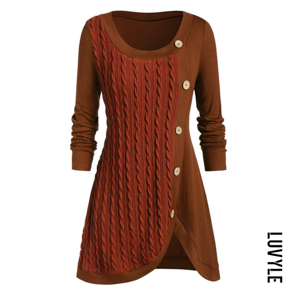 Women's casual long-sleeved button-decorated solid color irregular sweater - from $31.00