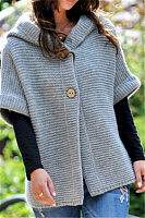Hoodied Two Buttons Short Sleeve Knit Sweater