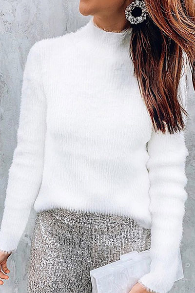 Round Neck Plain Casual Sweater