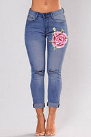 Broken Holes  Embroidery Slim Leg Jeans