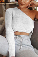 Open Shoulder  Backless  Plain Sweaters