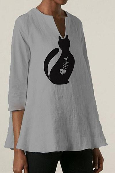 Cat print short sleeve top