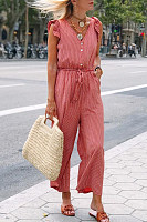 V-Neck Sleeveless Ruffled Lace-Up Casual Striped Jumpsuit