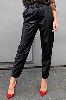 All-match High-rise Straight-fit Belted Slim-fit PU Trousers
