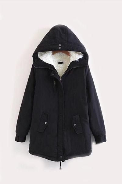 Hooded  Asymmetric Hem Zipper  Plain Outerwear