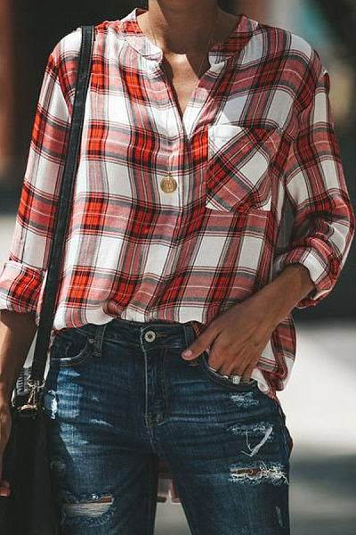 V Neck Plaid Pockets Long Sleeve Casual Blouse