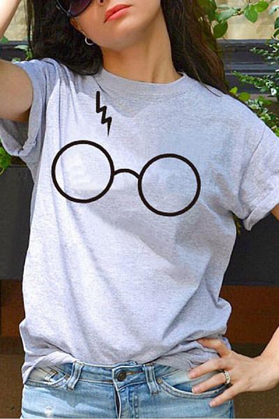 Round Neck Short Sleeve  Glasses T-shirt