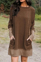 Fashion Round Neck Coloring Long Sleeve Patch Pocket Dress