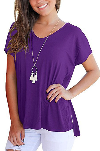 V Neck  Asymmetric Hem Side Vented  Plain T-Shirts