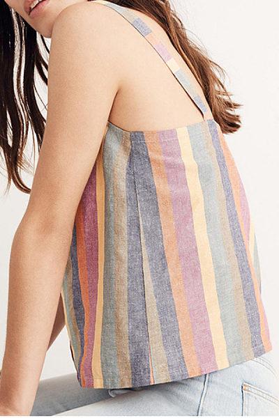 Spaghetti Strap  Single Breasted  Striped Camis