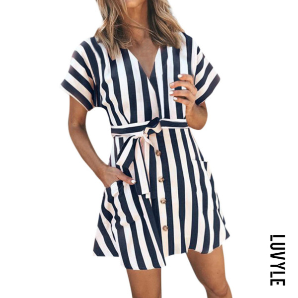 Navy Blue V Neck Belt Striped Short Sleeve Casual Dresses Navy Blue V Neck Belt Striped Short Sleeve Casual Dresses