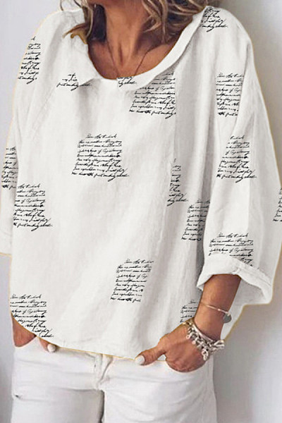 Letters Cuffed Collar Loose Blouse
