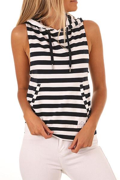 Hooded  Slit Pocket  Stripes T-Shirts