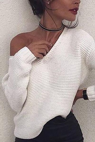 One Shoulder  Plain  Elegant Sweaters