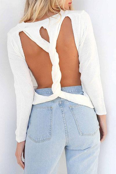 Round Neck  Back Hole  Plain Sweaters