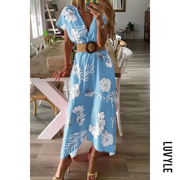 Blue V Neck Floral Printed Short Sleeve Maxi Dresses Blue V Neck Floral Printed Short Sleeve Maxi Dresses