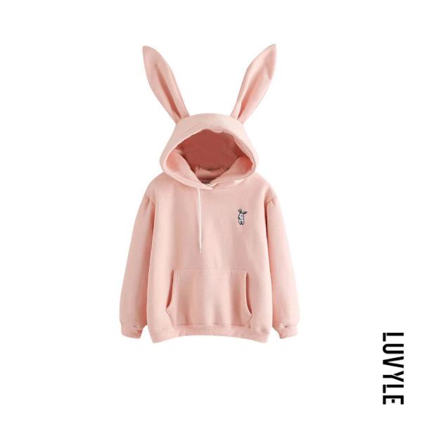 Pink Casual Long Sleeve Cartoon Hoodies Pink Casual Long Sleeve Cartoon Hoodies