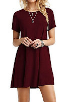 A Line Round Neck  Plain Casual Dresses