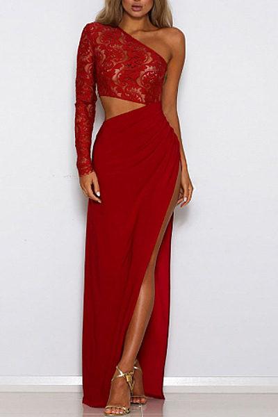 One Shoulder  High Slit  Hollow Out Plain Maxi Dresses