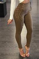 Lace Up Zipper  Plain Pants