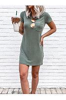 Casual Round-Neck Pocket Dress