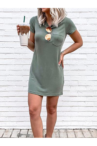 Casual Round-Neck Pocket Dress