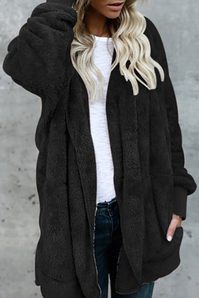 Casual Warm Plush Mid-Length Coat