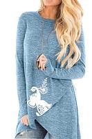 Women's Fashion Irregular Cross Hem Printed Long Sleeve T-Shirt