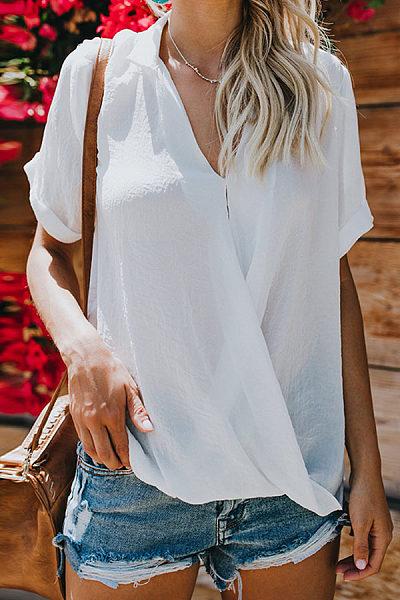 Sexy V Neck Short Sleeve Corss Pleated Plain Blouses