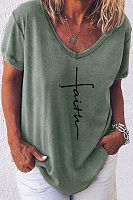 V Neck Short Sleeve Christian T-shirt
