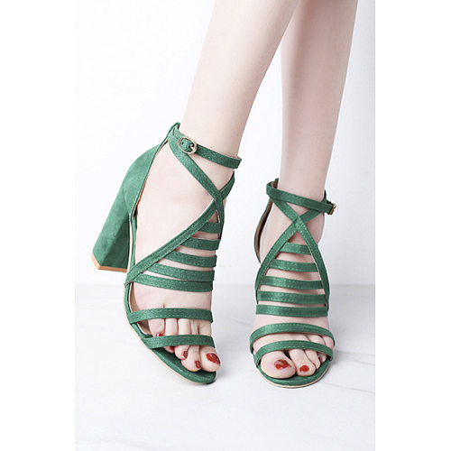 Fashion Women Buckle Solid Color Thick Heel Sandals