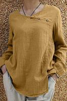 Women's Button Stitching Split Blouse