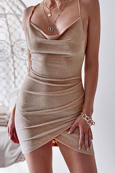 Sexy Lace-Up Bag Hip Dress