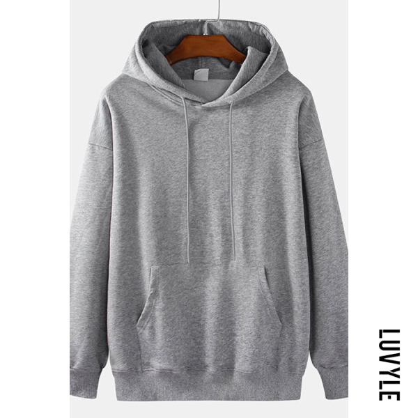 Gray Knit Solid Color Loose Drawstring Hoodie Gray Knit Solid Color Loose Drawstring Hoodie